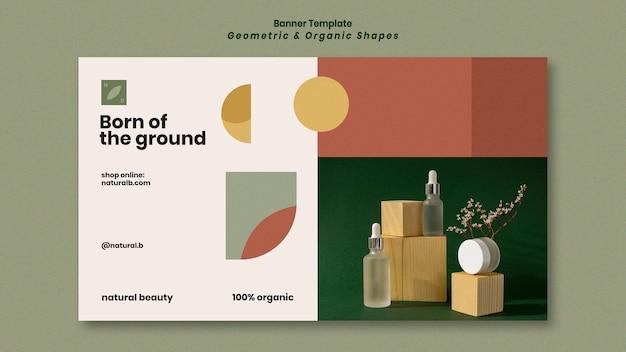 Banner horizontal para pódio de garrafa de óleo essencial com formas geométricas