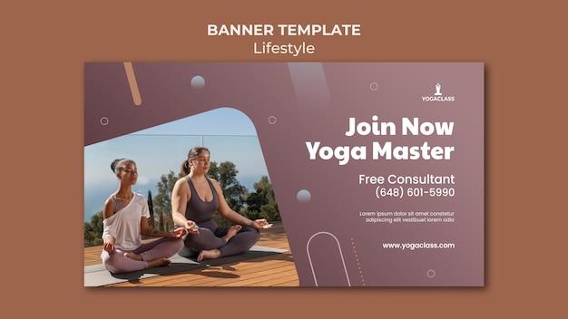 Banner horizontal para prática e exercícios de ioga