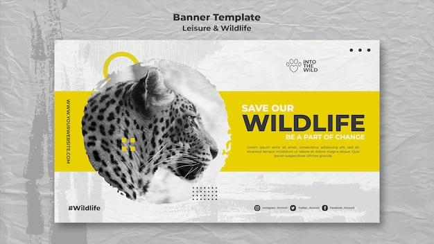 Banner horizontal para proteção da vida selvagem e meio ambiente