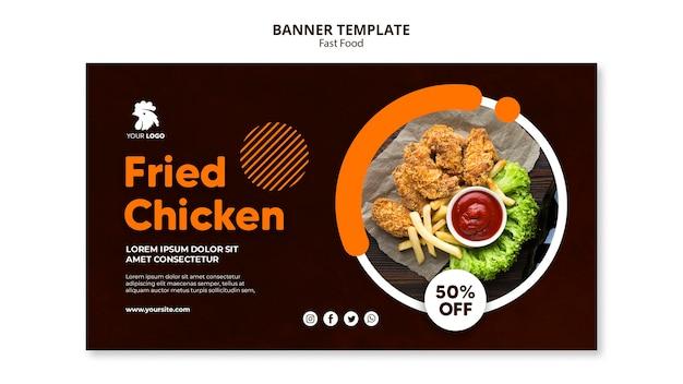 Banner horizontal para restaurante de frango frito