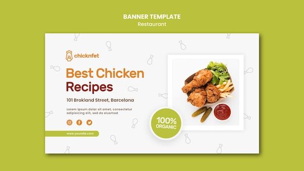 Banner horizontal para restaurante de prato de frango frito