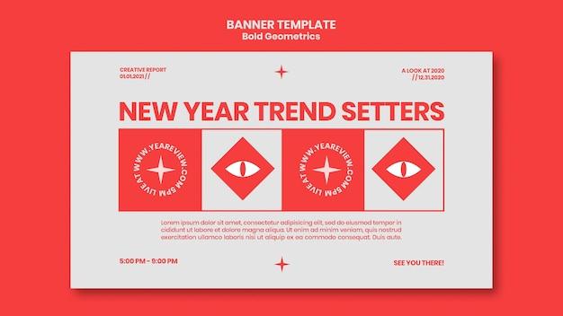 Banner horizontal para revisão e tendências de ano novo