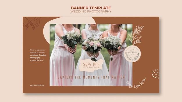 Banner horizontal para serviço de fotografia de casamento