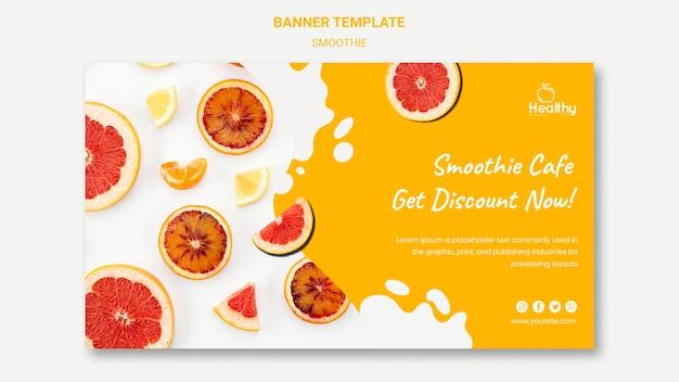 Banner horizontal para smoothies de frutas saudáveis