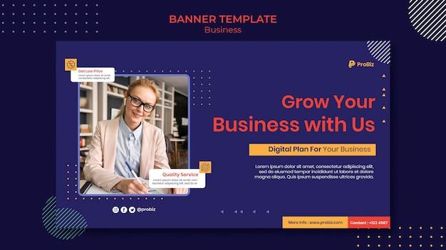 Banner horizontal para soluções de negócios profissionais