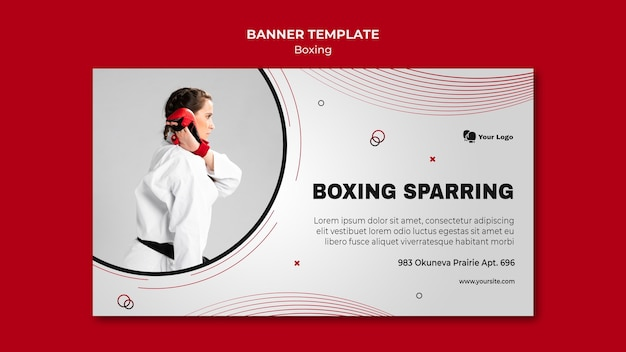 Banner horizontal para treinamento de boxe