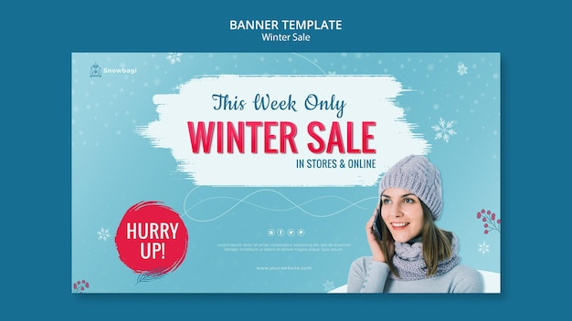 Banner horizontal para venda de inverno com mulher e flocos de neve