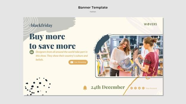 Banner horizontal para vendas de moda