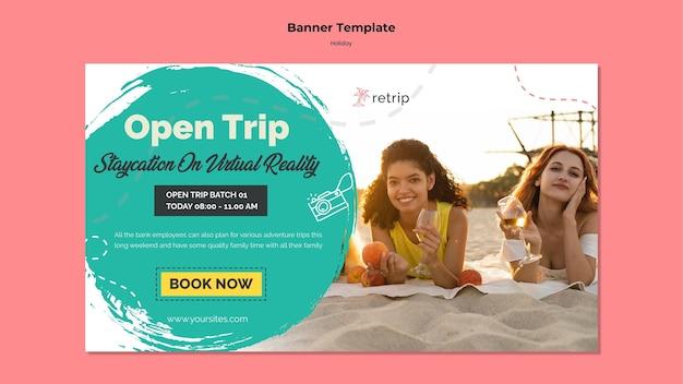 Banner horizontal para viagem de férias de realidade virtual