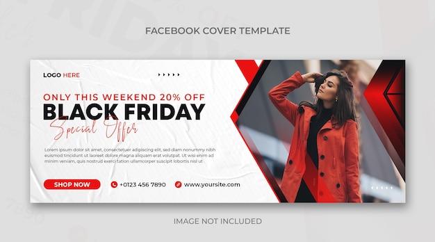 Banner horizontal preto de sexta-feira ou modelo de design de capa do facebook