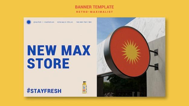 Banner horizontal retro-maximalista