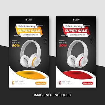 Banner insta da coleção de fones de ouvido de super venda black friday