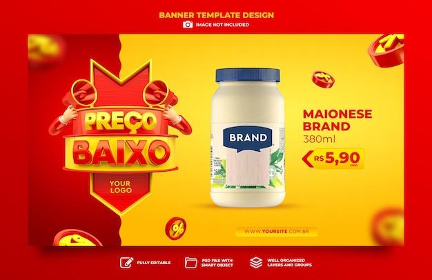 Banner marketing no brasil design de template de renderização 3d de baixo preço