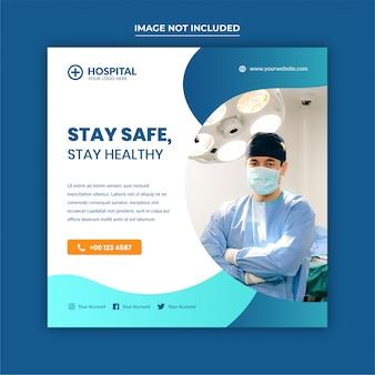 Banner médica ou folheto quadrado para mídias sociais postar modelo