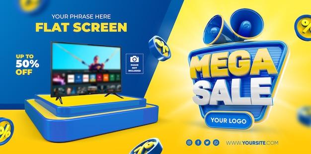 Banner mega sale template design 3d render