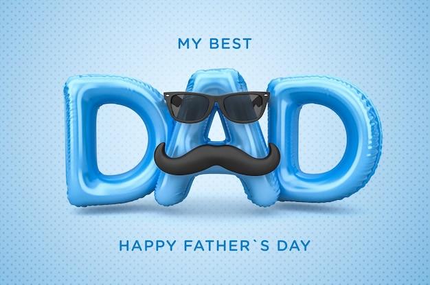 Banner meu melhor pai feliz dia dos pais renderização em 3d