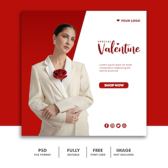 Banner moda valentine post mídia social instagram vermelho bonito