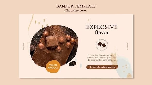 Banner modelo amante de chocolate