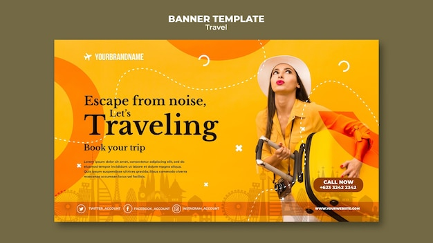 Banner modelo de anúncio de agência de viagens
