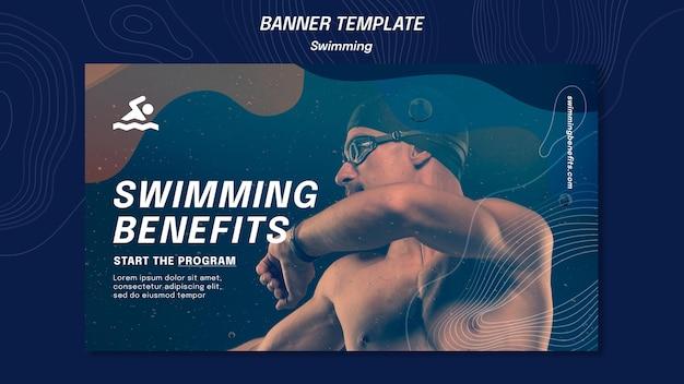 Banner modelo de benefícios de natação