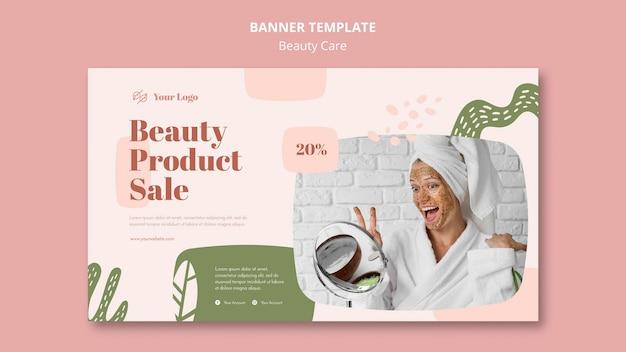 Banner modelo de cuidados de beleza