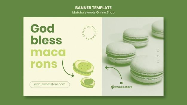 Banner modelo de doces matcha