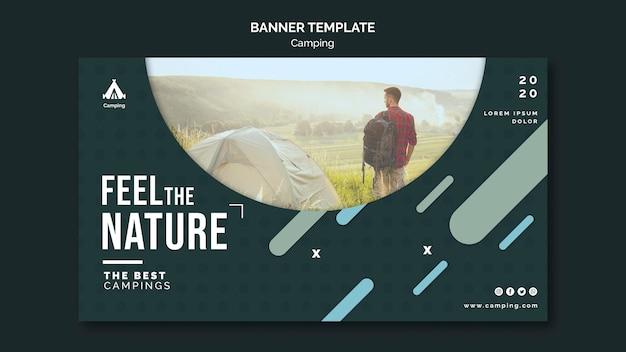 Banner modelo de local de acampamento