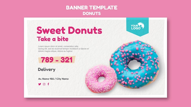 Banner modelo de loja de donuts