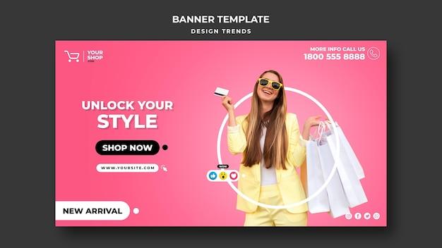Banner modelo de mulher de compras