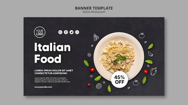 Banner modelo de restaurante italiano