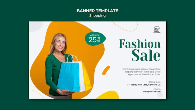 Banner modelo de venda de compras