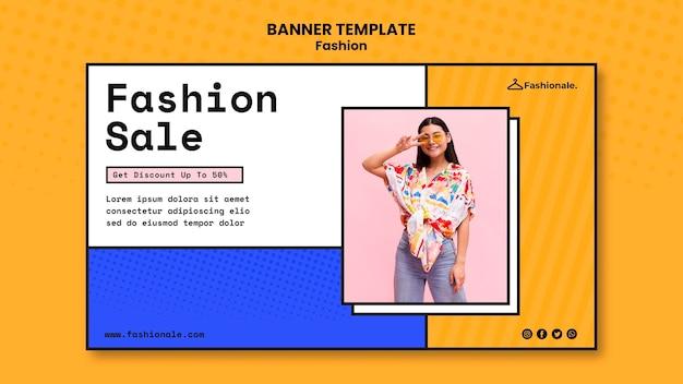 Banner modelo de venda de moda