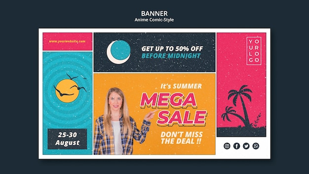 Banner modelo de venda de verão