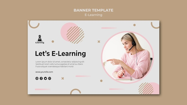 Banner modelo design e-learning conceito