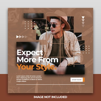Banner moderno ou quadrado de folheto para design de modelo de postagem de mídia social