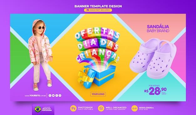 Banner oferece renderização em 3d para o dia das crianças no brasil, modelo de design em português