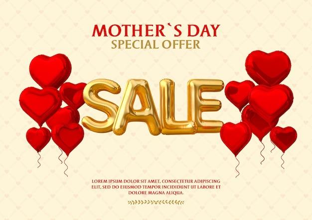 Banner oferta especial venda do dia das mães feliz balão 3d render