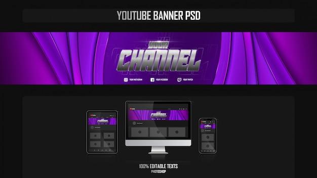 Banner para canal do youtube com conceito sport