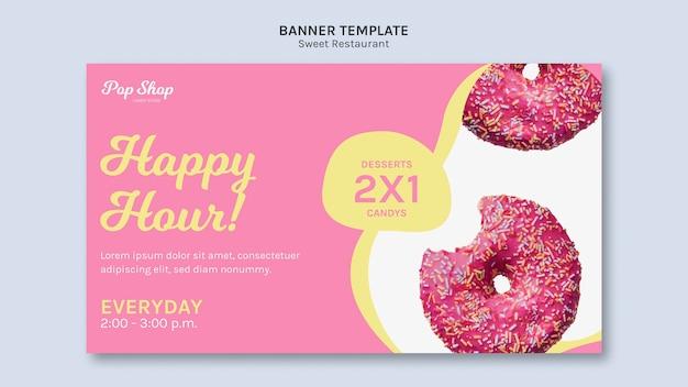 Banner para design de loja de doces pop Psd grátis