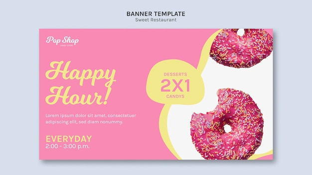 Banner para design de loja de doces pop