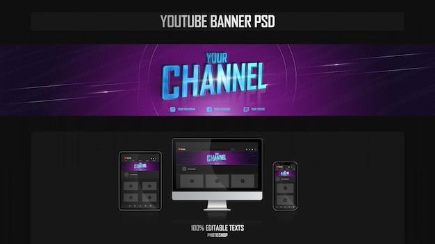 Banner para o canal do youtube com o conceito de jogador