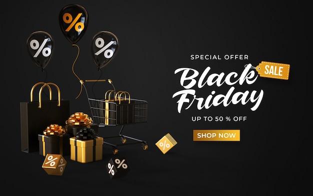 Banner preto de venda na sexta-feira com carrinho, sacolas, caixas de presentes, cubos com porcentagem e balões
