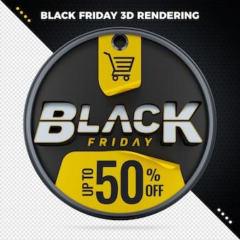 Banner preto de venda na sexta-feira com detalhes de desconto em renderização em 3d