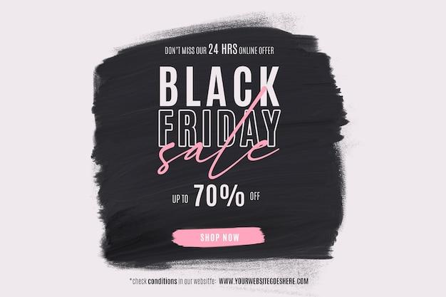Banner preto de venda na sexta-feira com formato de tinta