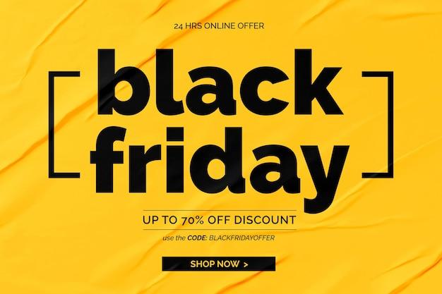Banner preto de venda na sexta-feira com fundo de papel colado amarelo