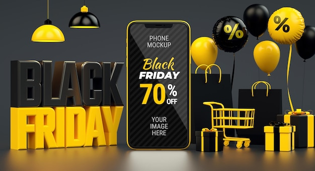 Banner preto de venda na sexta-feira com maquete de telefone celular e material amarelo em renderização 3d