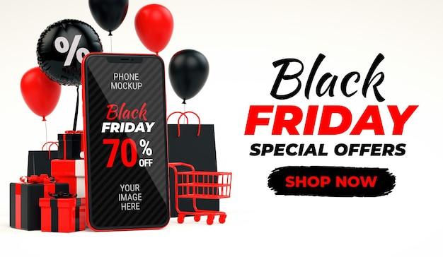 Banner preto de venda na sexta-feira com maquete de telefone celular vermelho e espaço de cópia em renderização 3d