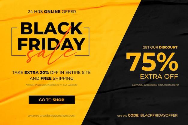 Banner preto de venda na sexta-feira em fundo de papel colado amarelo e preto