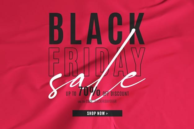Banner preto de venda na sexta-feira em fundo de papel colado vermelho