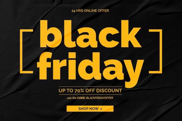 Banner preto de venda na sexta-feira em fundo preto de papel colado